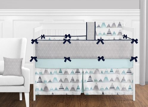 9 pc. Navy Blue, Aqua and Grey Aztec Mountains Baby Boy or Girl Unisex Crib Bedding Set with Bumper by Sweet Jojo Designs - Click to enlarge
