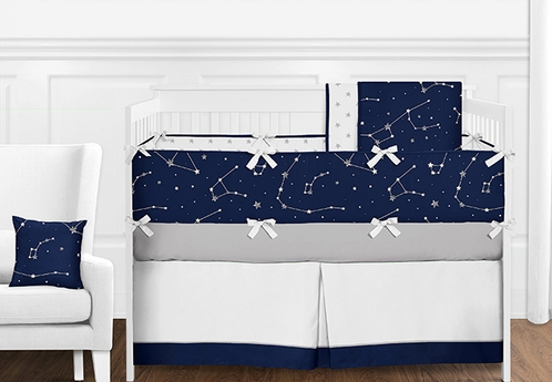 9 pc. Navy Blue, Grey and White Constellation Moon and Stars Boys Baby Bedding Crib Set with Bumper by Sweet Jojo Designs - Click to enlarge