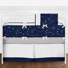 9 pc. Navy Blue, Grey and White Constellation Moon and Stars Boys Baby Bedding Crib Set with Bumper by Sweet Jojo Designs