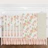 9 pc. Peach and Green Shabby Chic Watercolor Floral Baby Girl Crib Bedding Set with Bumper by Sweet Jojo Designs - Rose Flower Polka Dot