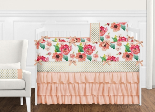9 pc. Peach, Coral and Pink Shabby Chic Watercolor Floral Baby Girl Crib Bedding Set with Bumper by Sweet Jojo Designs - Rose Flower Polka Dot - Click to enlarge