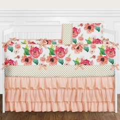 9 pc. Peach, Coral and Pink Shabby Chic Watercolor Floral Baby Girl Crib Bedding Set with Bumper by Sweet Jojo Designs - Rose Flower Polka Dot