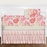 9 pc. Peach, Pink and Red Shabby Chic Watercolor Floral Baby Girl Crib Bedding Set with Bumper by Sweet Jojo Designs - Rose Flower Polka Dot