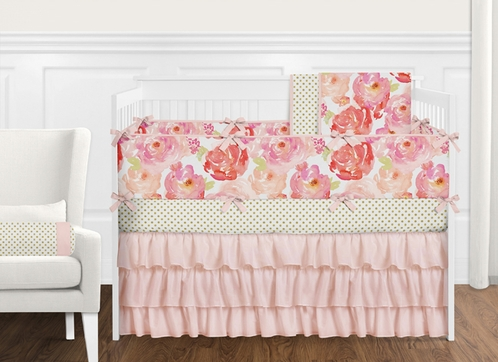 9 pc. Peach, Pink and Red Shabby Chic Watercolor Floral Baby Girl Crib Bedding Set with Bumper by Sweet Jojo Designs - Rose Flower Polka Dot - Click to enlarge