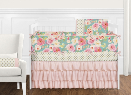 9 pc. Turquoise and Pink Shabby Chic Watercolor Floral Baby Girl Crib Bedding Set with Bumper by Sweet Jojo Designs - Rose Flower Polka Dot - Click to enlarge