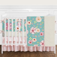 9 pc. Turquoise and Pink Shabby Chic Watercolor Floral Baby Girl Crib Bedding Set with Bumper by Sweet Jojo Designs - Rose Flower Polka Dot