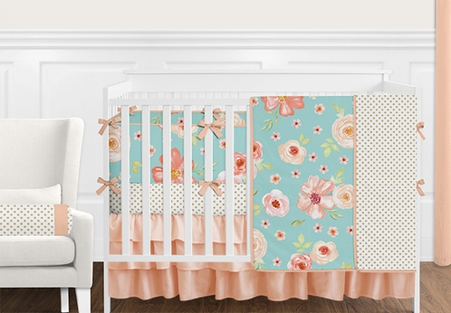 9 pc. Turquoise, Peach and Coral Shabby Chic Watercolor Floral Baby Girl Crib Bedding Set with Bumper by Sweet Jojo Designs - Rose Flower Polka Dot - Click to enlarge