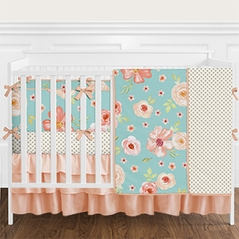 9 pc. Turquoise, Peach and Coral Shabby Chic Watercolor Floral Baby Girl Crib Bedding Set with Bumper by Sweet Jojo Designs - Rose Flower Polka Dot
