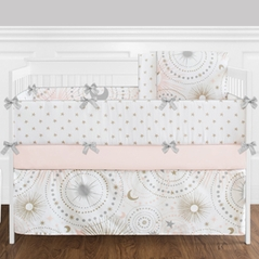 9 pc. Blush Pink, Gold, Grey and White Star and Moon Celestial Baby Girl Crib Bedding Set with Bumper by Sweet Jojo Designs