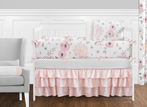 9 Pcs. Blush Pink, Grey and White Shabby Chic Watercolor Floral Baby Girl Crib Bedding Set with Bumper by Sweet Jojo Designs - Rose Flower Polka Dot - Click to enlarge