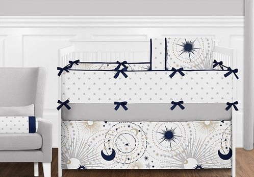 9 Pcs. Navy Blue, Grey and Gold Star and Moon Celestial Baby Boy Crib Bedding Set with Bumper by Sweet Jojo Designs - Click to enlarge