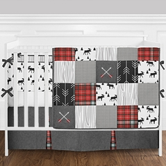 9pc. Black, Red, Grey and White Woodland Deer Arrow Patchwork Boys Baby Bedding Crib Set with Bumper by Sweet Jojo Designs
