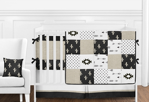9pc. Black White and Tan Cactus and Arrow Patchwork Boys Baby Bedding Crib Set with Bumper by Sweet Jojo Designs - Click to enlarge