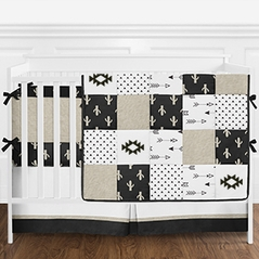 9pc. Black White and Tan Cactus and Arrow Patchwork Boys Baby Bedding Crib Set with Bumper by Sweet Jojo Designs