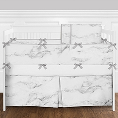 9pc. Modern Grey, Black and White Marble Boys or Girls Gender Neutral Baby Bedding Crib Set with Bumper by Sweet Jojo Designs