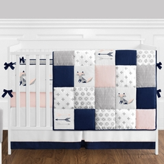 9 pc. Navy Blue, Pink, and Grey Patchwork Woodland Fox and Arrow Baby Girl Crib Bedding Set with Bumper by Sweet Jojo Designs