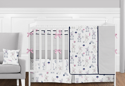 9pc. Pink, Navy Blue, Grey and White Woodland Bunny Rabbit Girls Baby Bedding Crib Set with Bumper by Sweet Jojo Designs - Click to enlarge
