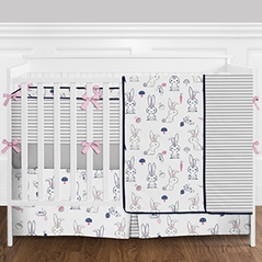 9pc. Pink, Navy Blue, Grey and White Woodland Bunny Rabbit Girls Baby Bedding Crib Set with Bumper by Sweet Jojo Designs