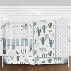 9pc. Slate Blue, Grey and Green Cactus, Wolf and Arrow Boys Baby Bedding Crib Set with Bumper by Sweet Jojo Designs