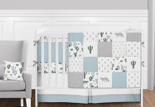 9pc. Slate Blue, Grey and Green Cactus, Wolf and Arrow Patchwork Boys Baby Bedding Crib Set with Bumper by Sweet Jojo Designs - Click to enlarge
