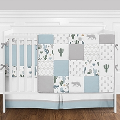 9pc. Slate Blue, Grey and Green Cactus, Wolf and Arrow Patchwork Boys Baby Bedding Crib Set with Bumper by Sweet Jojo Designs