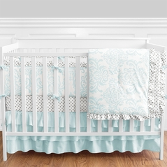 9 pc. Tiffany Blue, Grey and White Damask and Polka Dot Baby Bedding Girls Crib Set with Bumper by Sweet Jojo Designs