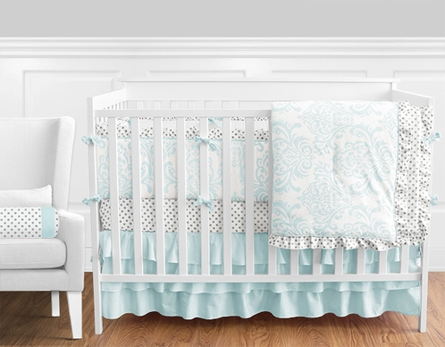 9 pc. Tiffany Blue and White Damask and Grey Polka Dot Baby Bedding Girls Crib Set with Bumper by Sweet Jojo Designs - Click to enlarge