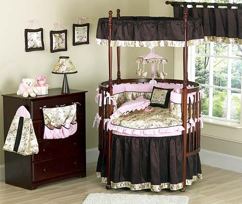 Abby Rose Asian Baby Bedding - 9 pc Round Crib Set - Click to enlarge
