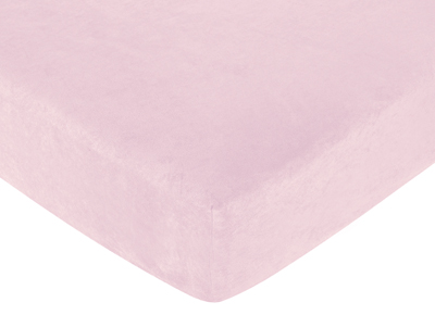 Abby Rose Fitted Crib Sheet for Baby and Toddler Bedding Sets by Sweet Jojo Designs - Solid Pink Microsuede - Click to enlarge