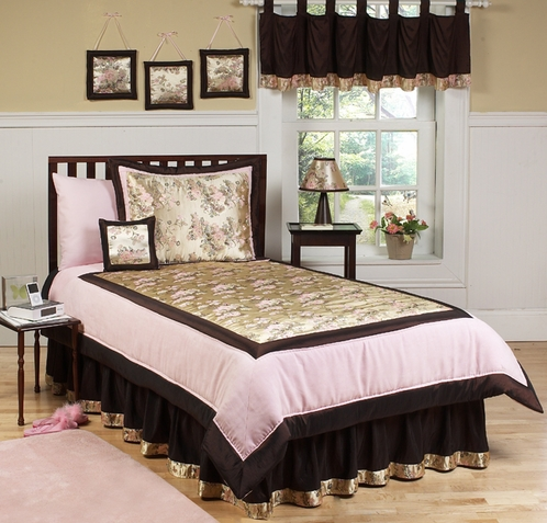 Abby Rose Pink and Brown Children's Bedding - 4 pc Twin Set - Click to enlarge