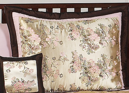 Abby Rose Pink and Brown Pillow Sham - Click to enlarge