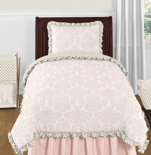 blush pink gold and white amelia 4pc twin girls bedding set by sweet jojo designs only. Black Bedroom Furniture Sets. Home Design Ideas