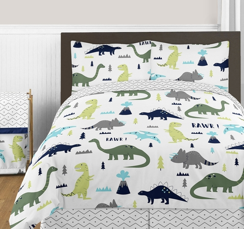 Blue and Green Mod Dinosaur 3pc Boy or Girl Full / Queen Bedding Set by Sweet Jojo Designs - Click to enlarge