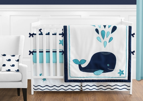Blue Whale - 9 Piece Baby Boy or Girl Bedding Crib Set by Sweet Jojo Designs - Click to enlarge
