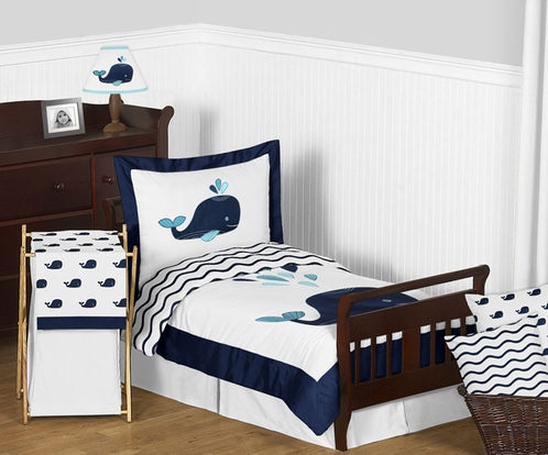 Blue Whale Boy or Girl Toddler Bedding 5pc Set by Sweet Jojo Designs - Click to enlarge