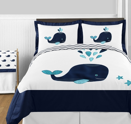 Blue Whale 3pc Boys or Girls Full / Queen Bedding Set by Sweet Jojo Designs - Click to enlarge