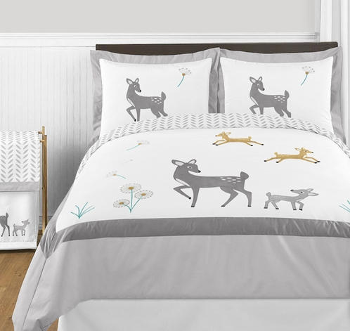 Forest Deer and Dandelion 3pc Full / Queen Bedding Set by Sweet Jojo Designs - Click to enlarge