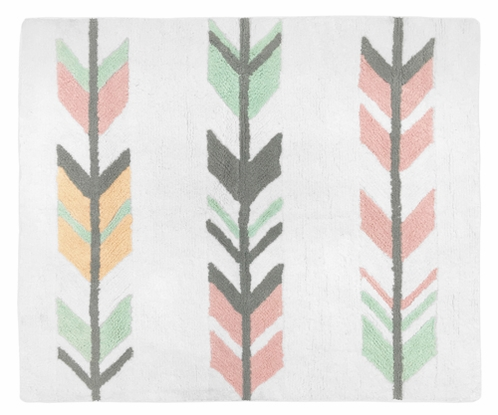 Accent Floor Rug for Grey, Coral and Mint Woodland Arrow Collection by Sweet Jojo Designs - Click to enlarge
