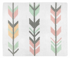 Accent Floor Rug for Grey, Coral and Mint Woodland Arrow Collection by Sweet Jojo Designs