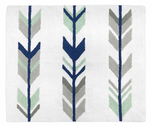 Accent Floor Rug for Grey, Navy Blue and Mint Woodland Arrow Collection by Sweet Jojo Designs - Click to enlarge
