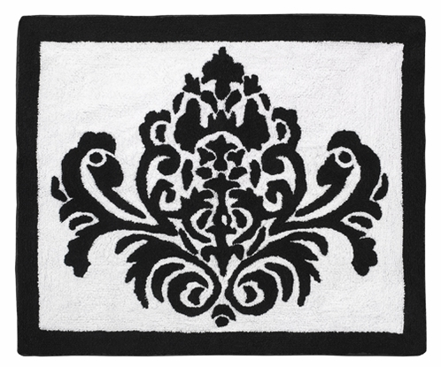 Black and White Damask Accent Floor Rug for Sloane Collection by Sweet Jojo Designs - Click to enlarge