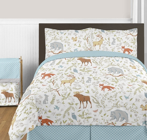 Woodland Animal Toile 3pc Boy or Girl Full / Queen Bedding Set by Sweet Jojo Designs - Click to enlarge