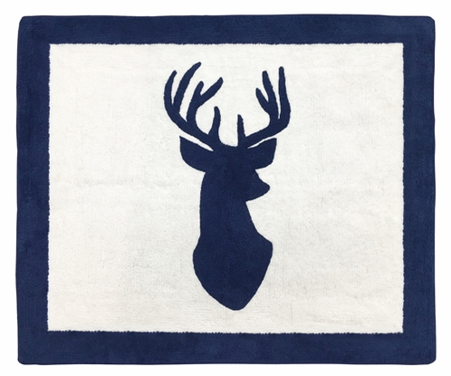 Accent Floor Rug for Navy and White Woodland Deer Collection by Sweet Jojo Designs - Click to enlarge
