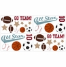 All Star Sports Peel and Stick Wall Decal Stickers Art Nursery Decor by Sweet Jojo Designs - Set of 4 Sheets