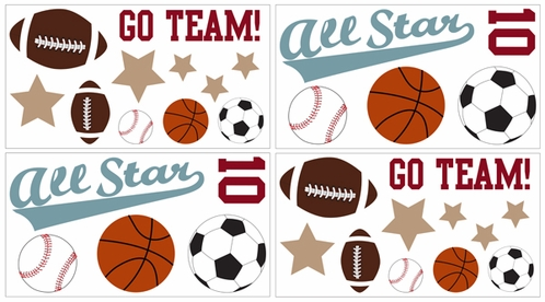 All Star Sports Baby and Kids Wall Decal Stickers Set of 4 Sheets