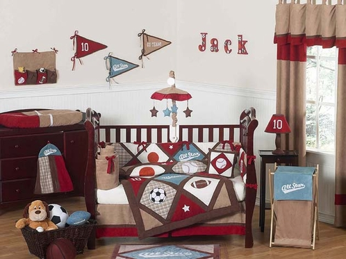 All Star Sports Baby Bedding 9 Pc Crib Set Only