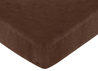 All Star Sports Fitted Crib Sheet for Baby and Toddler Bedding Sets by Sweet Jojo Designs - Chocolate Microsuede - Click to enlarge