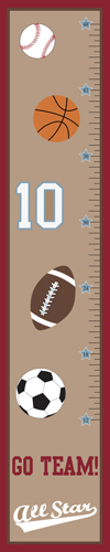 All Star Sports Kids, Childrens Wall Growth Chart by Sweet Jojo Designs - Click to enlarge