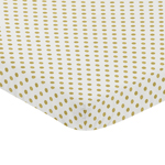 Gold and White Polka Dot Baby Fitted Mini Portable Crib Sheet for Amelia Collection by Sweet Jojo Designs