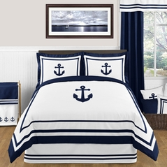 Anchors Away Nautical 3pc Full / Queen Bedding Set